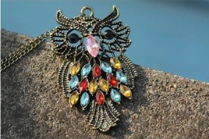 Antique Alloy with Colour Crystal Owl Long Prendant Bronze Necklace